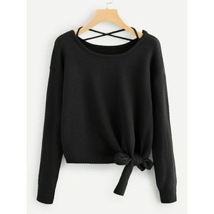 Sweaters - NEW KNOT SIDE CROP SWEATER